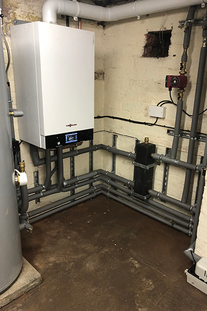 Commercial boiler installation